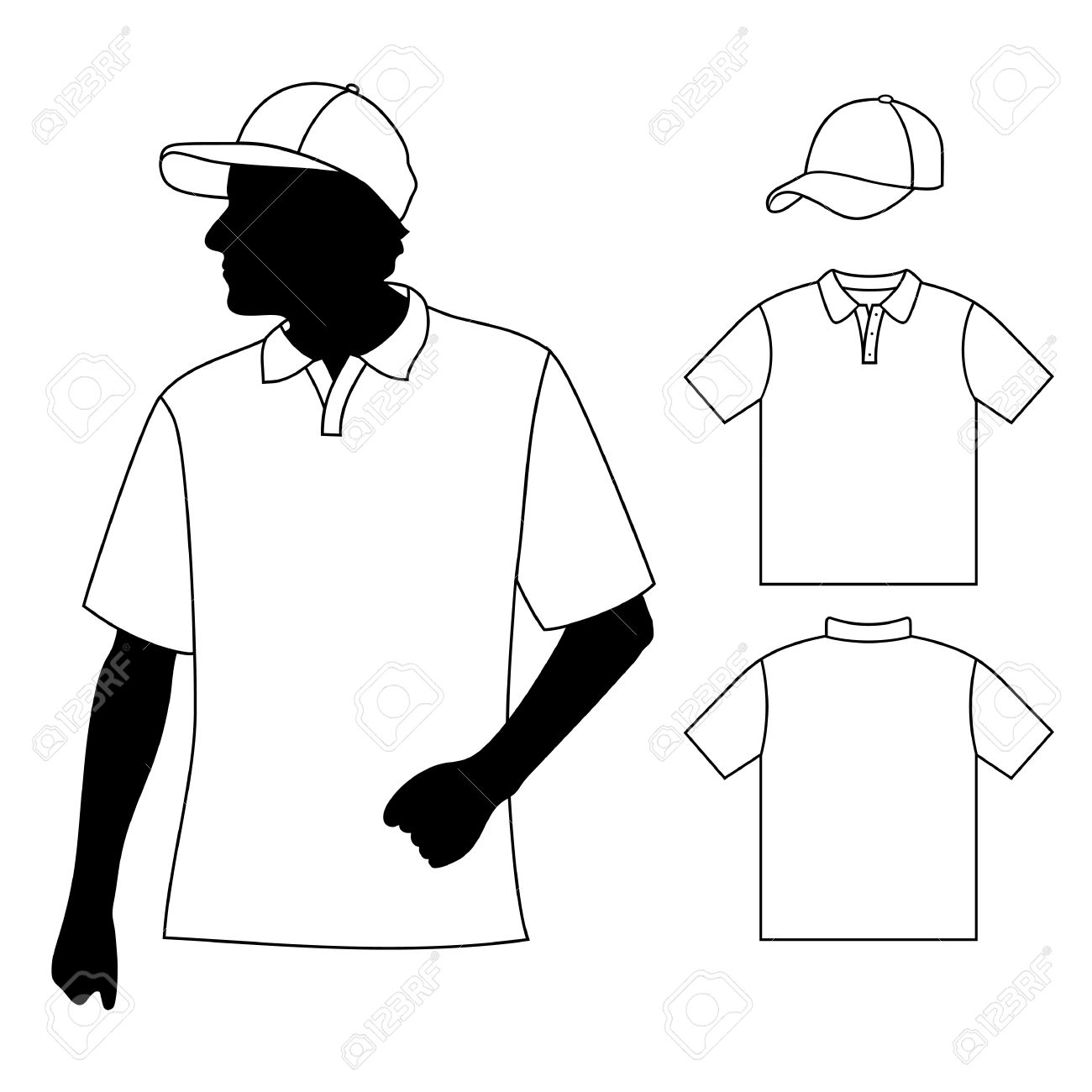 1300x1300 T Shirt Men S Polo Shirt Template With Human Body Silhouette