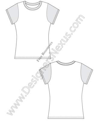316x409 V1 Fitted Free Vector T Shirt Design Template Sketch