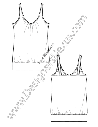 316x409 V17 Knit Tank Free Illustrator Fashion Flat Drawing Template