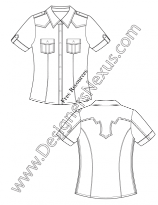 316x409 V50 Short Sleeve Western Shirt Flat Fashion Sketch Template