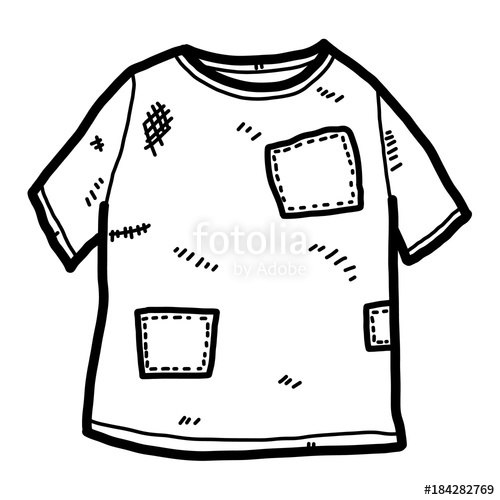 500x500 Old T Shirt Cartoon Vector And Illustration, Black And White