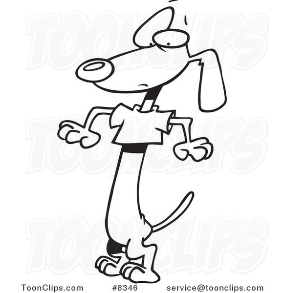 581x600 Cartoon Blacknd White Line Drawing Of Wiener Dog Wearing