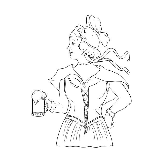 630x630 German Barmaid Serving Beer Drawing