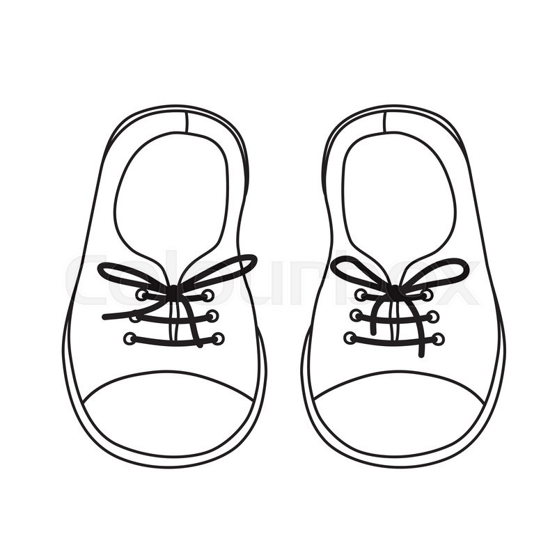 800x800 Hand Drawn Pair Kids Shoes. It Can Be Used For Decorating