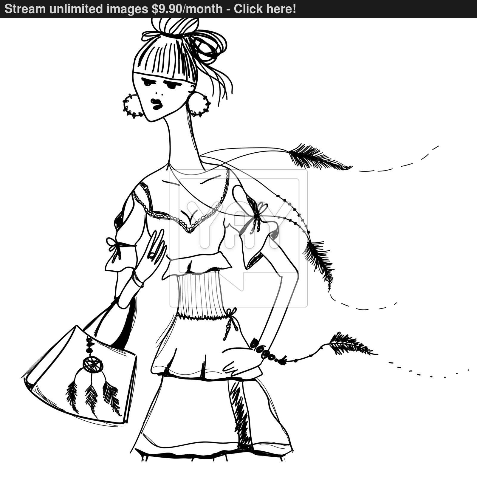 1600x1600 Sketch Of Girl In Gypsy Dress. Boho Style. Linear Pattern On