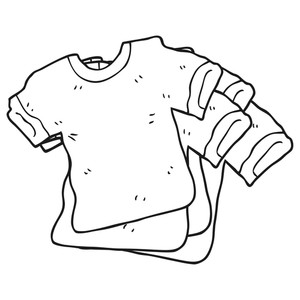 300x300 Freehand Drawn Black And White Cartoon T Shirts Royalty Free Stock