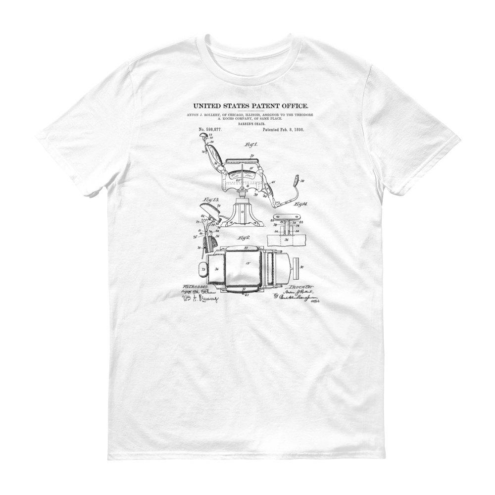 1000x1000 Barber Chair Patent T Shirt 1898 Patent T Shirt, Old Patent T