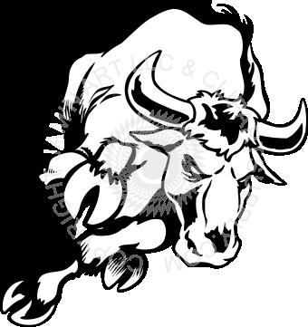 340x361 Charging Bull Drawing