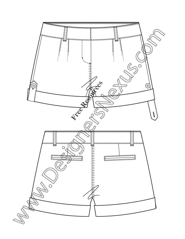 612x792 V28 Button Tab Roll Cuff Shorts Technical Flat Fashion Sketches
