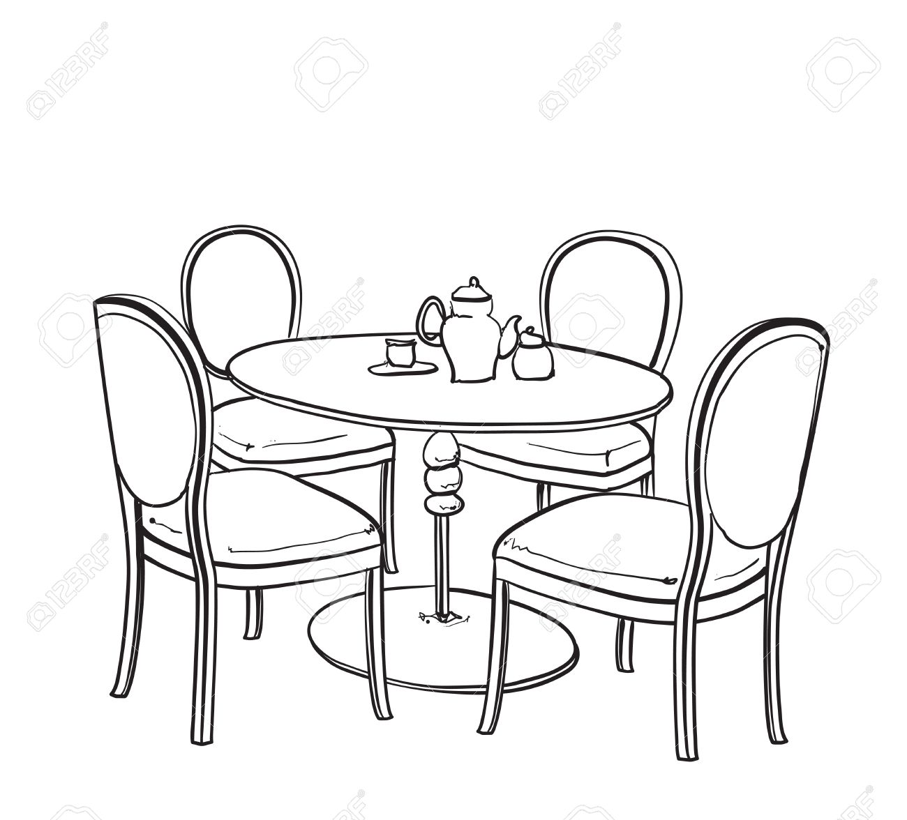table and chair drawing at getdrawings com