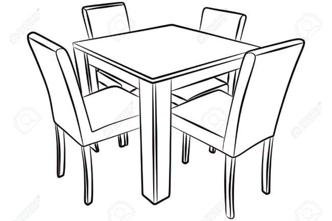 Table And Chair Drawing At GetDrawingscom Free For
