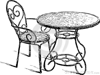 400x301 Table And Chairs Drawing Table And Chair Royalty Free Stock Photos