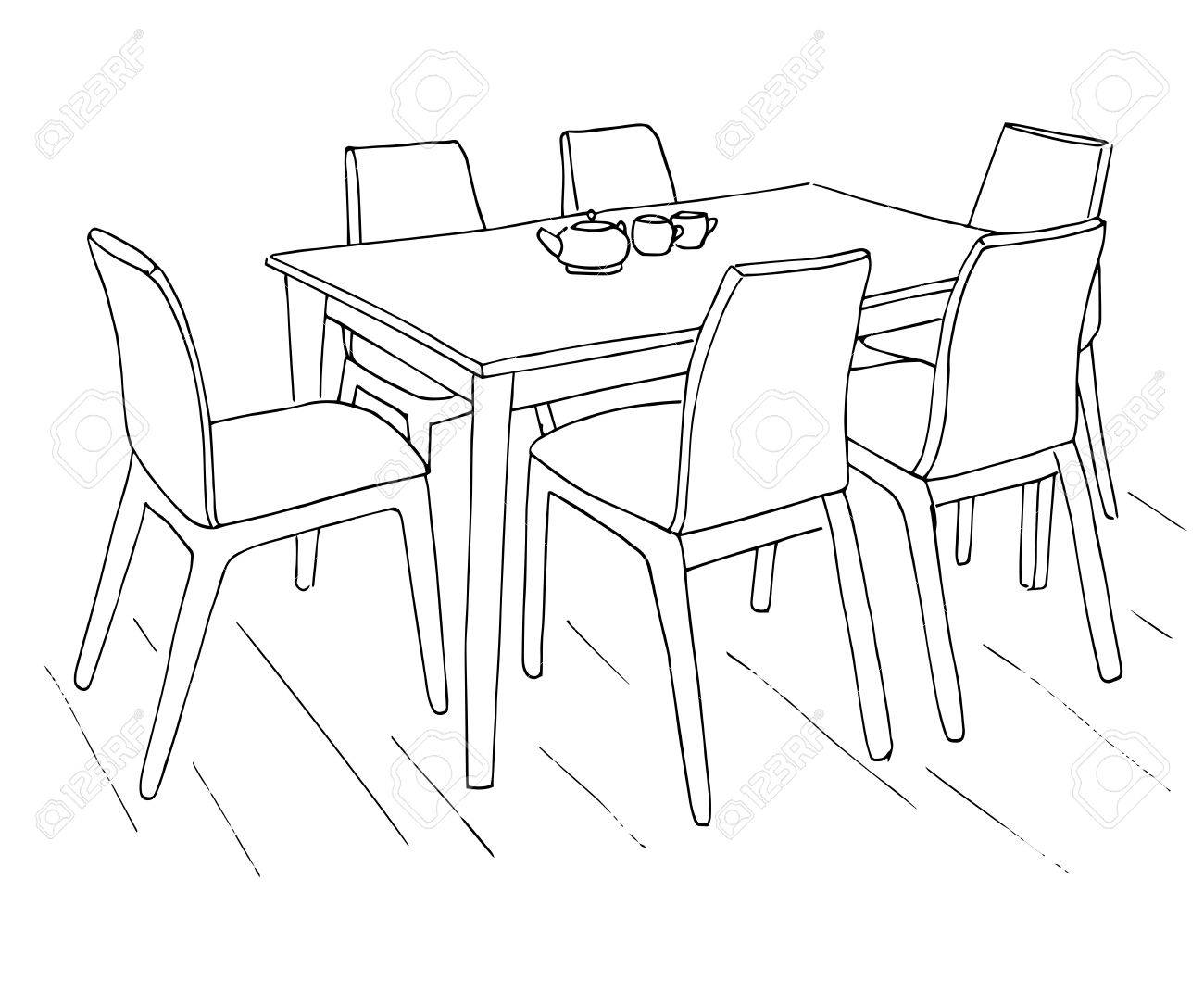 1300x1085 Table And Chairs. On The Table Are Two Cups. Hand Drawn Sketch