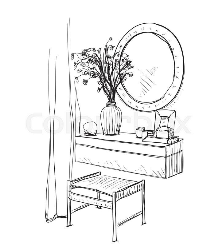 723x800 Drawn Chair Table