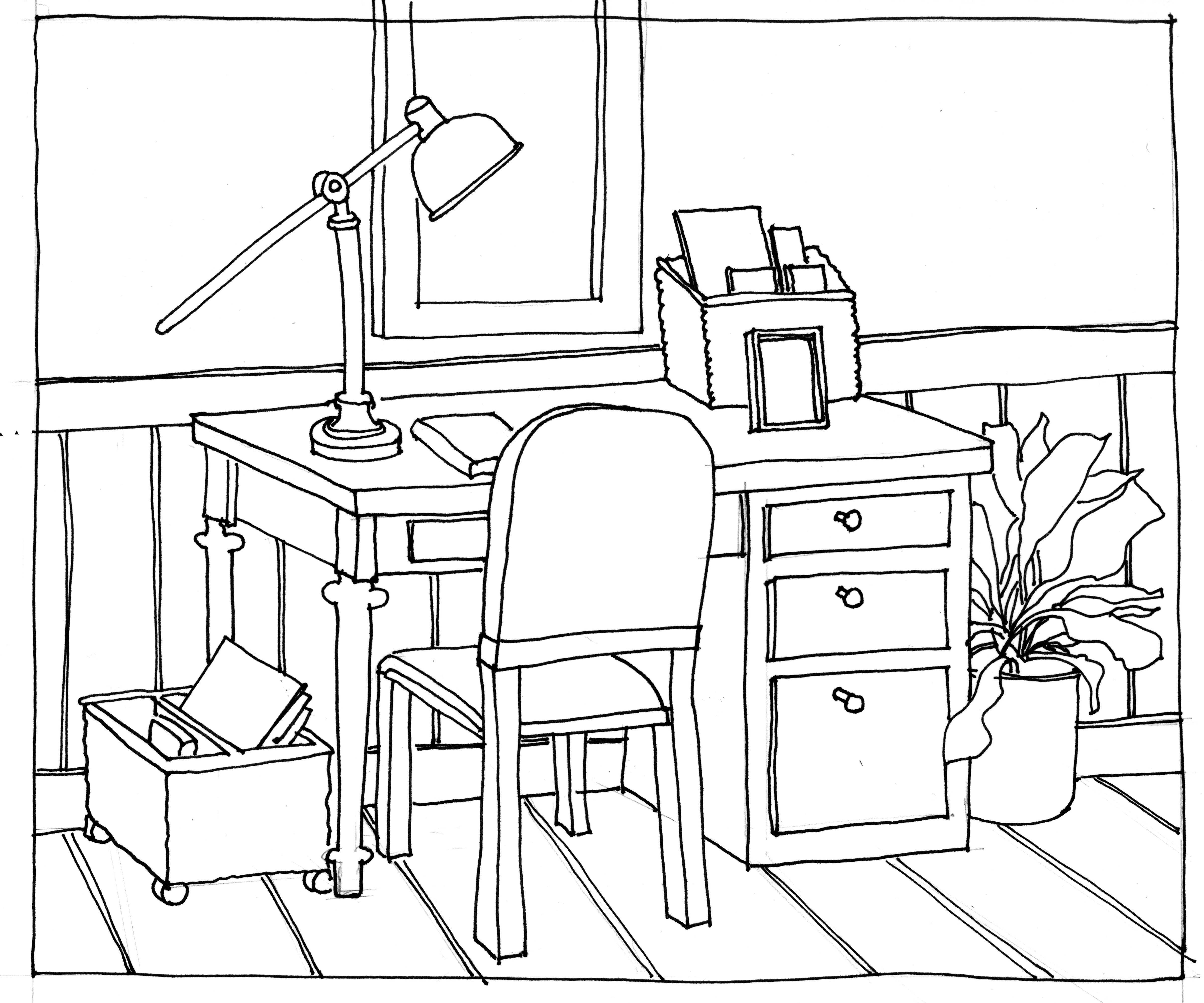 4799x3997 Brilliant School Chair Drawing Desk Man Thinking Sitting Office