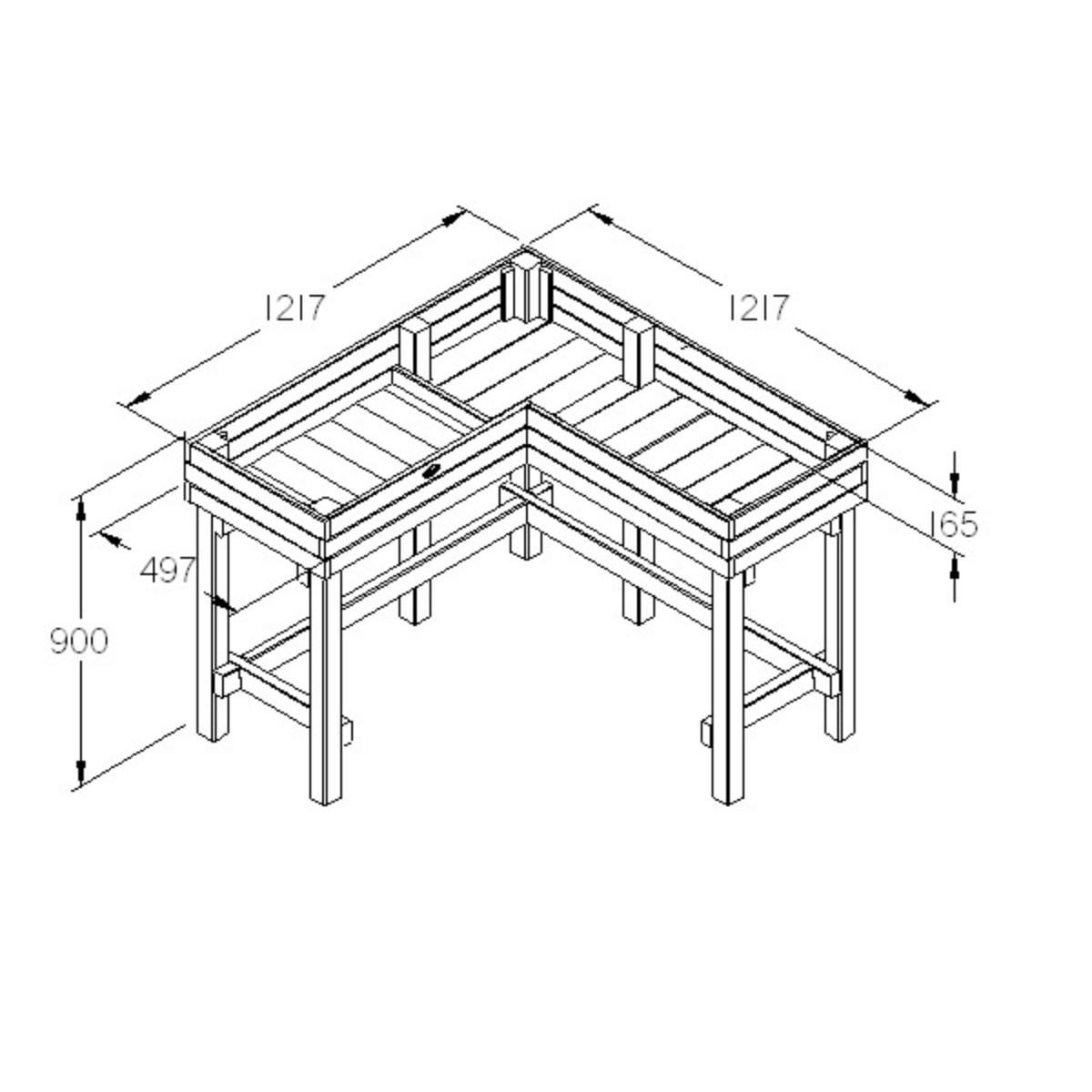 1200x1200 Corner Table Planter