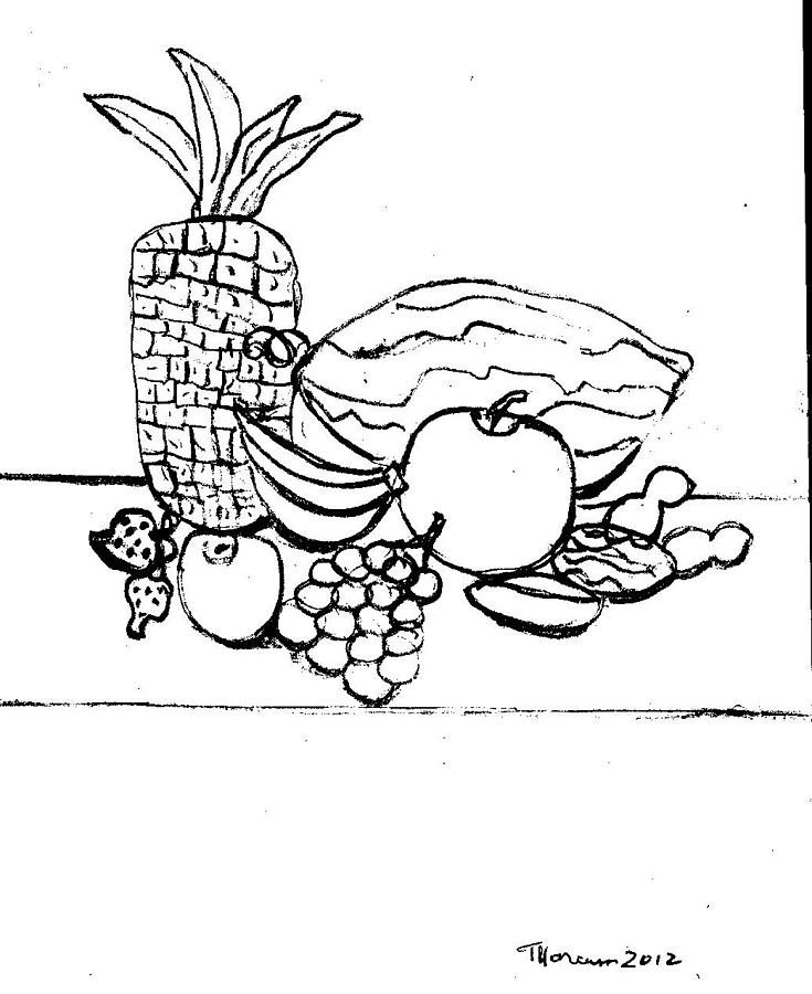 735x900 Fruit Drawing Drawing By Thelma Harcum