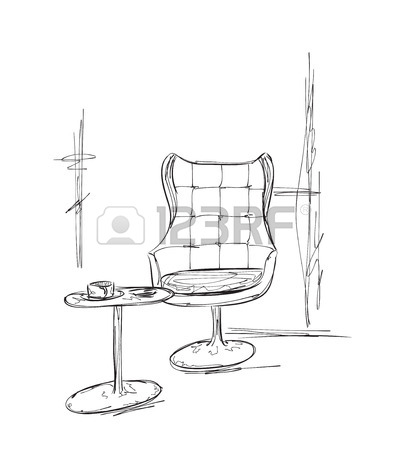 407x450 Furniture In Summer Cafe. Chair And Table Sketch Royalty Free