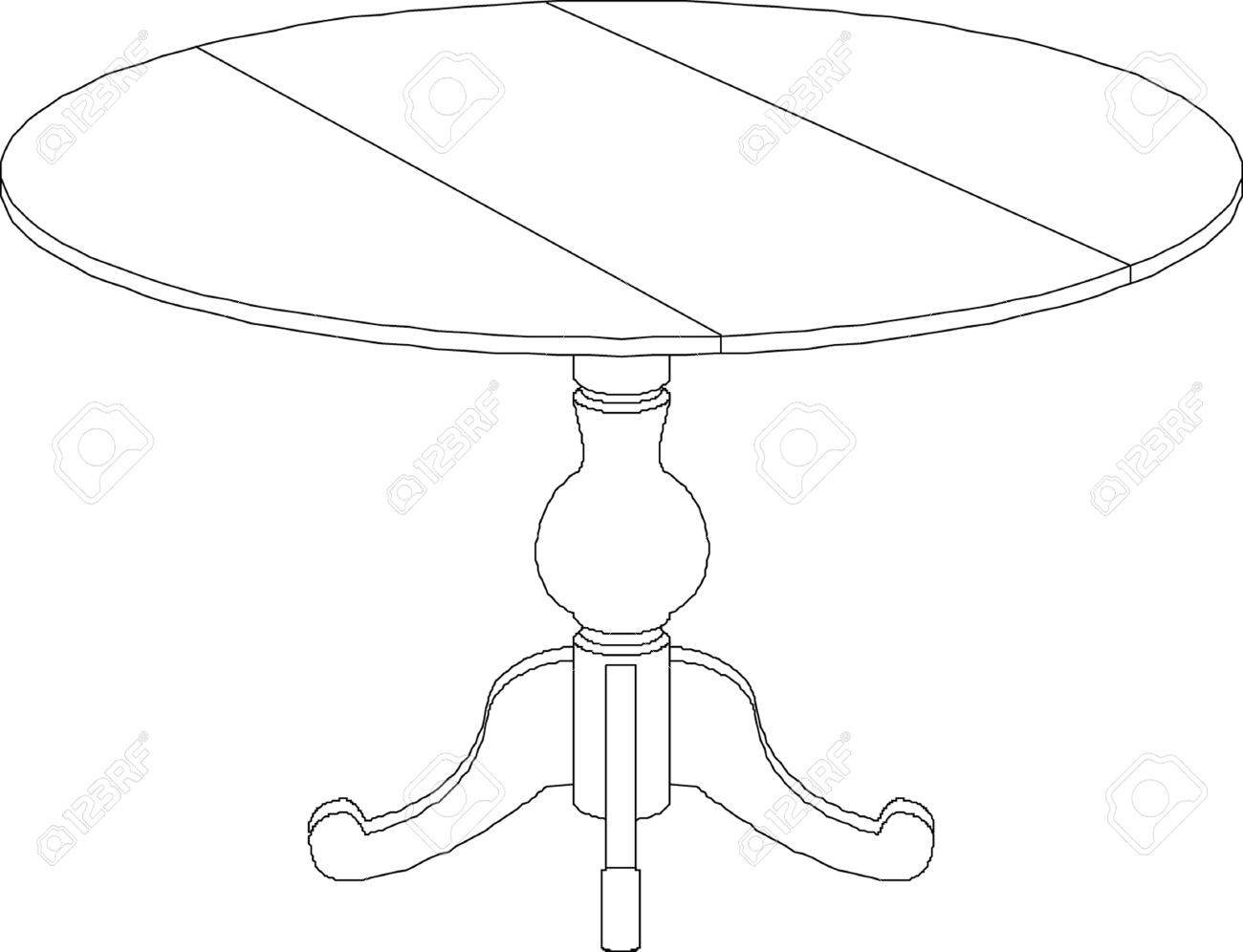 1300x996 Round Table Drawing Royalty Free Cliparts, Vectors, And Stock