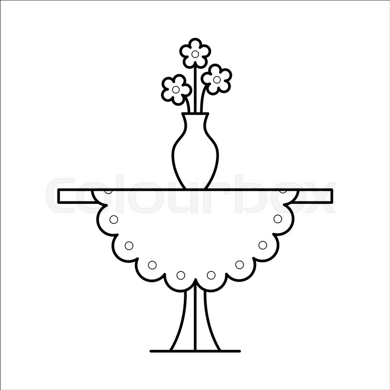 800x800 Small Coffee Side Table With Tablecloth, Vase With Flowers On It