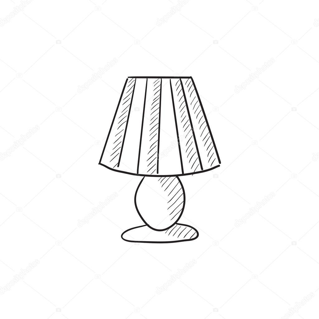 1024x1024 Table Lamp Sketch Icon. Stock Vector Rastudio