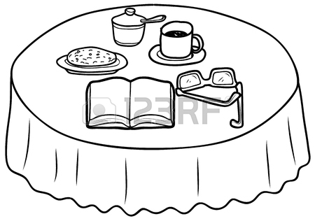 450x316 Things On The Coffee Table Sketch Drawing Royalty Free Cliparts