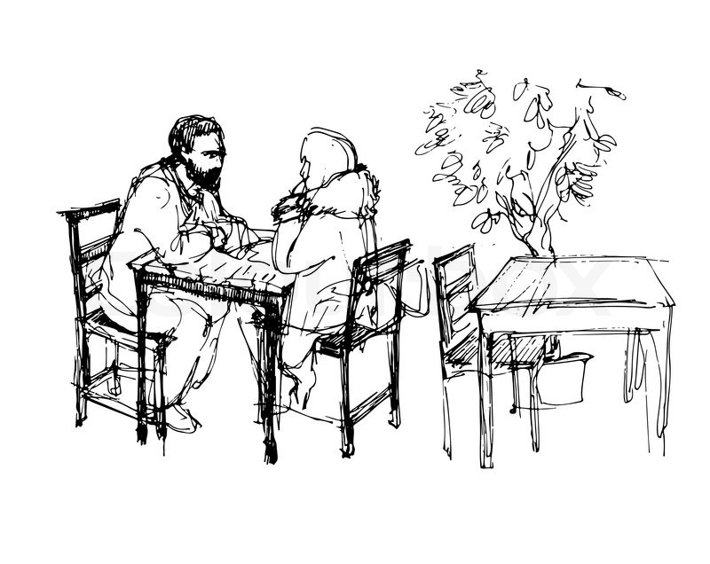 800x636 Black And White Vector Sketch Of A Man With A Beard And A Girl