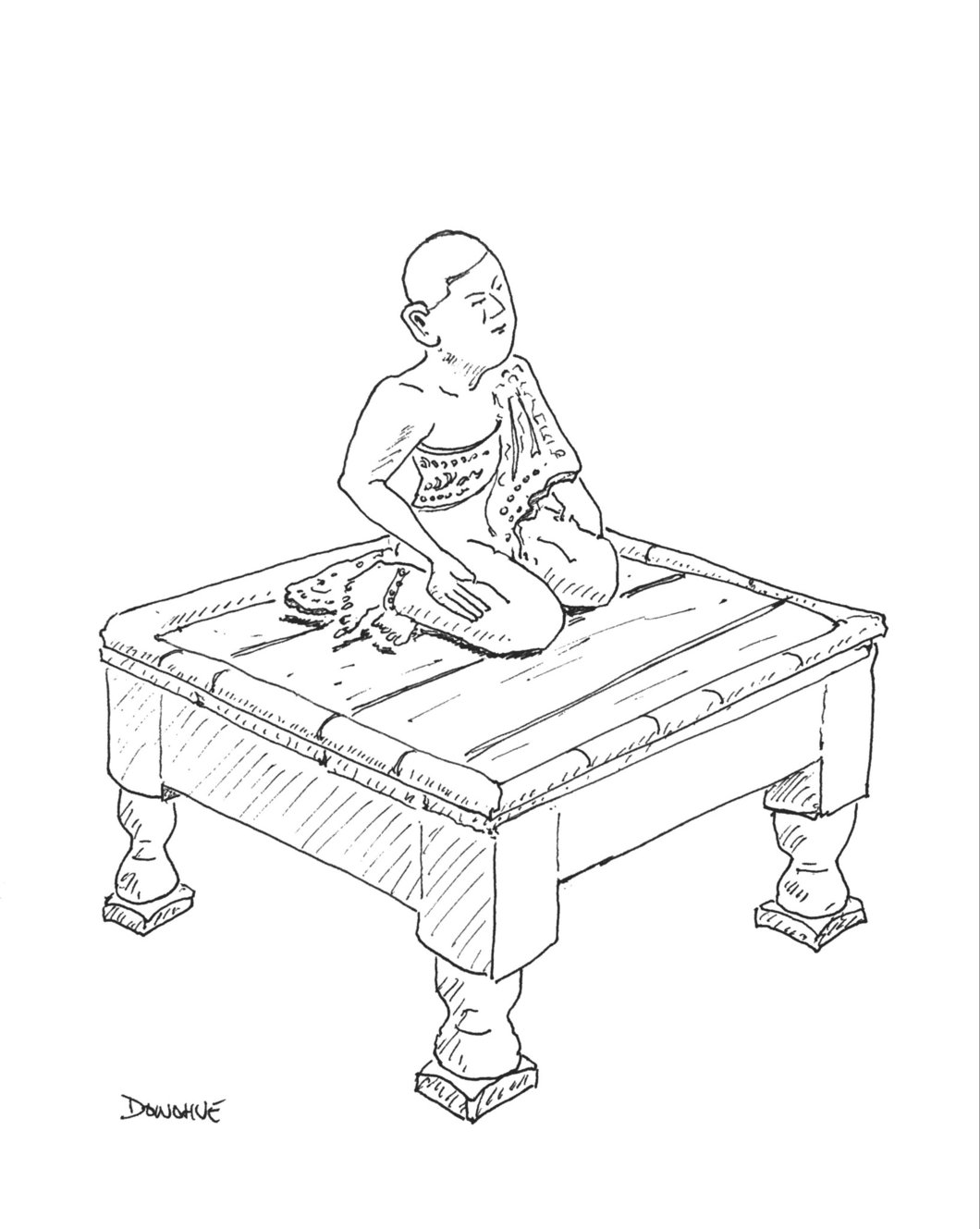 1060x1329 Buddha On Table Drawing By John Donohue Eat Draw Repeat