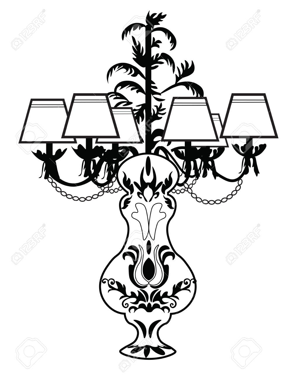 1043x1300 Classic Baroque Exquisite Table Lamp. Vector Sketch Royalty Free