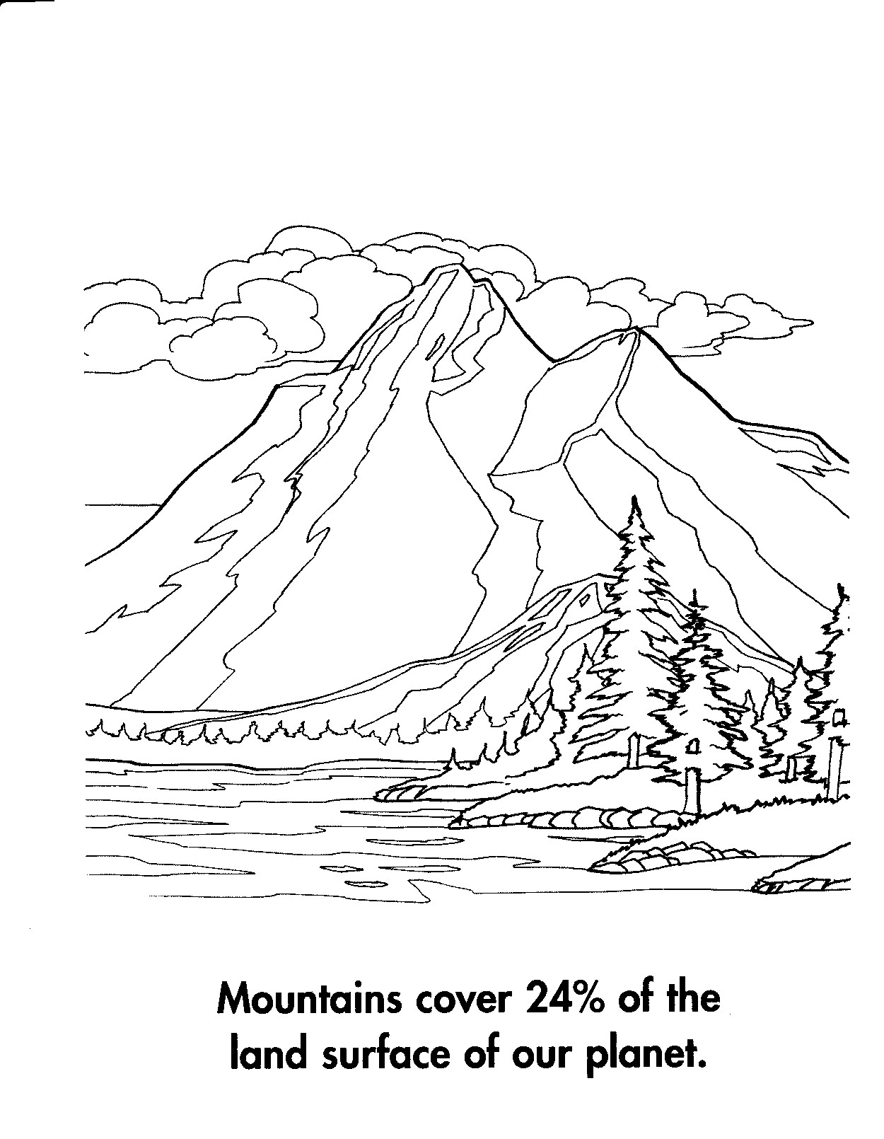 1250x1610 Mountain Coloring Page Free Draw To Color