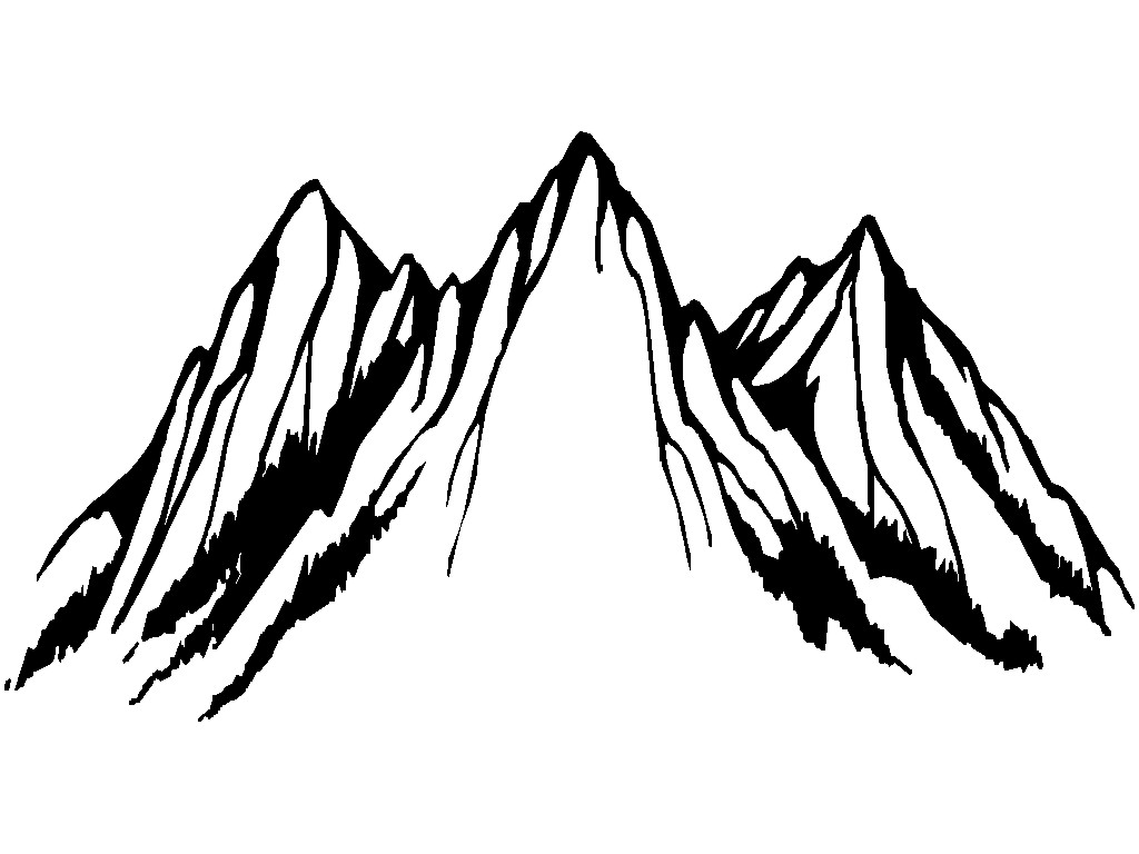 1024x768 Mountain Drawing Clipart