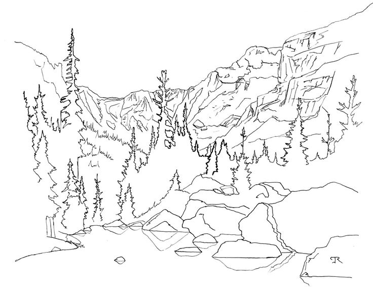 736x567 Rocky Mountain Line Drawing