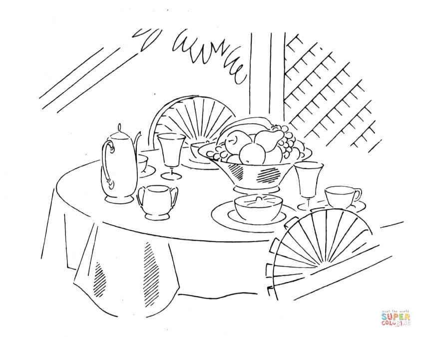 843x675 Tea Table Coloring Page Free Printable Coloring Pages