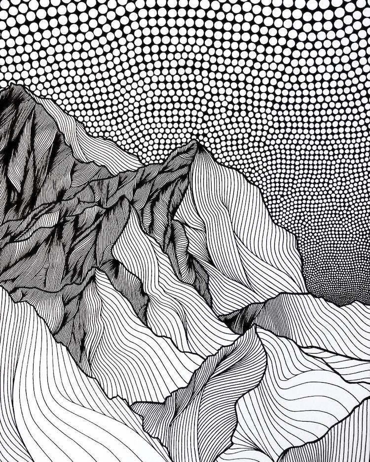 750x938 Artist Draws Countless Lines And Dots To Capture The Majestic