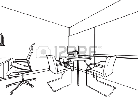 450x338 Interior Outline Sketch Of An Office Space Royalty Free Cliparts