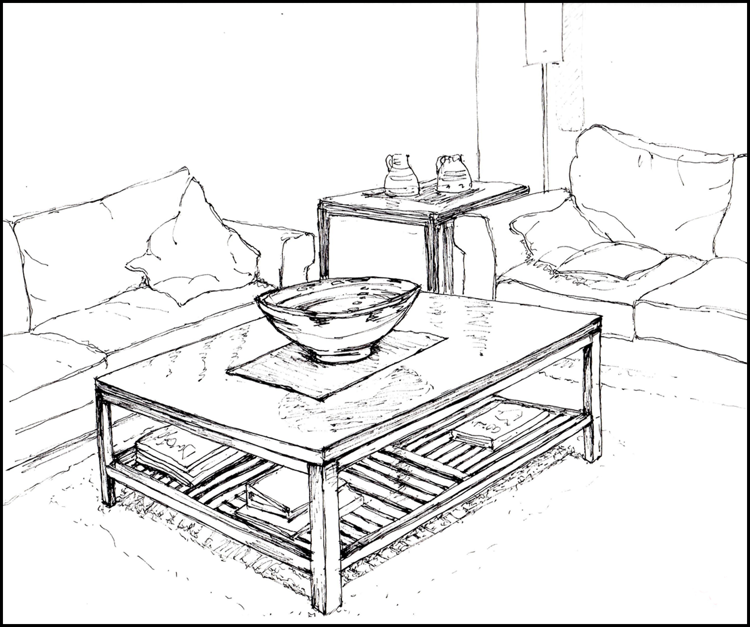 1525x1275 Living Room Drawing Of Living Room Point Perspective Interior