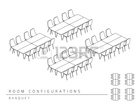 450x338 Meeting Room Setup Layout Configuration Banquet Style, Perspective