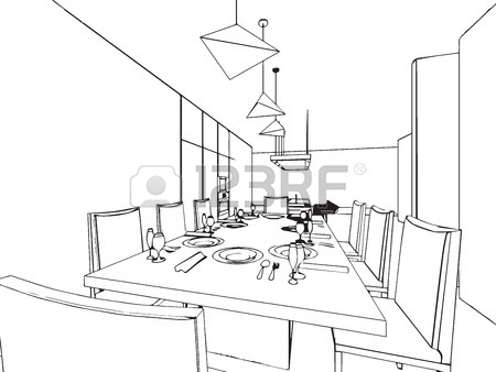 450x338 Outline Sketch Drawing Perspective Of A Interior Space Royalty