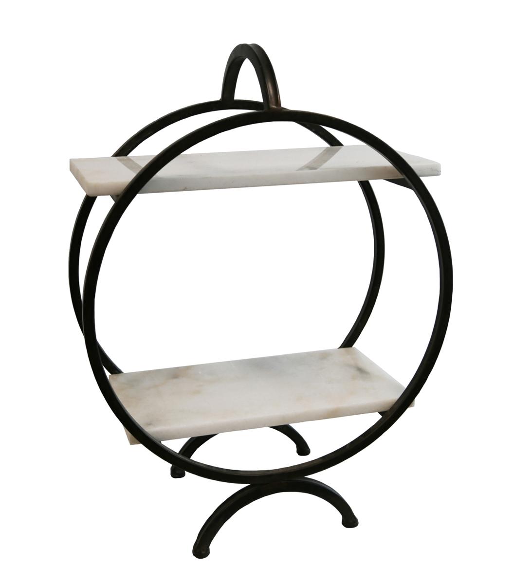 1054x1200 Marble Amp Metal 2 Tiered Tabletop Shelf, Bronze Sagebrook Home