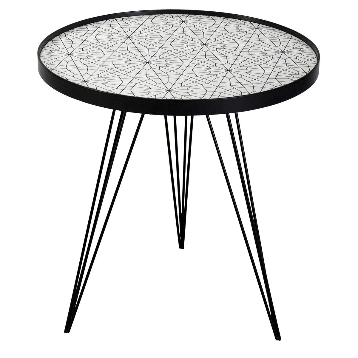 1200x1200 Sibford Round Side Table Black Amp White Print Top