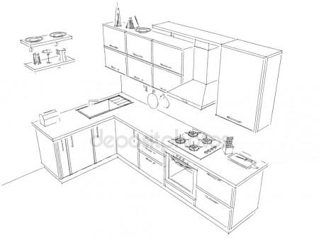 450x336 Sketch Drawing Of 3d Modern Kitchen Interior With Round Hood