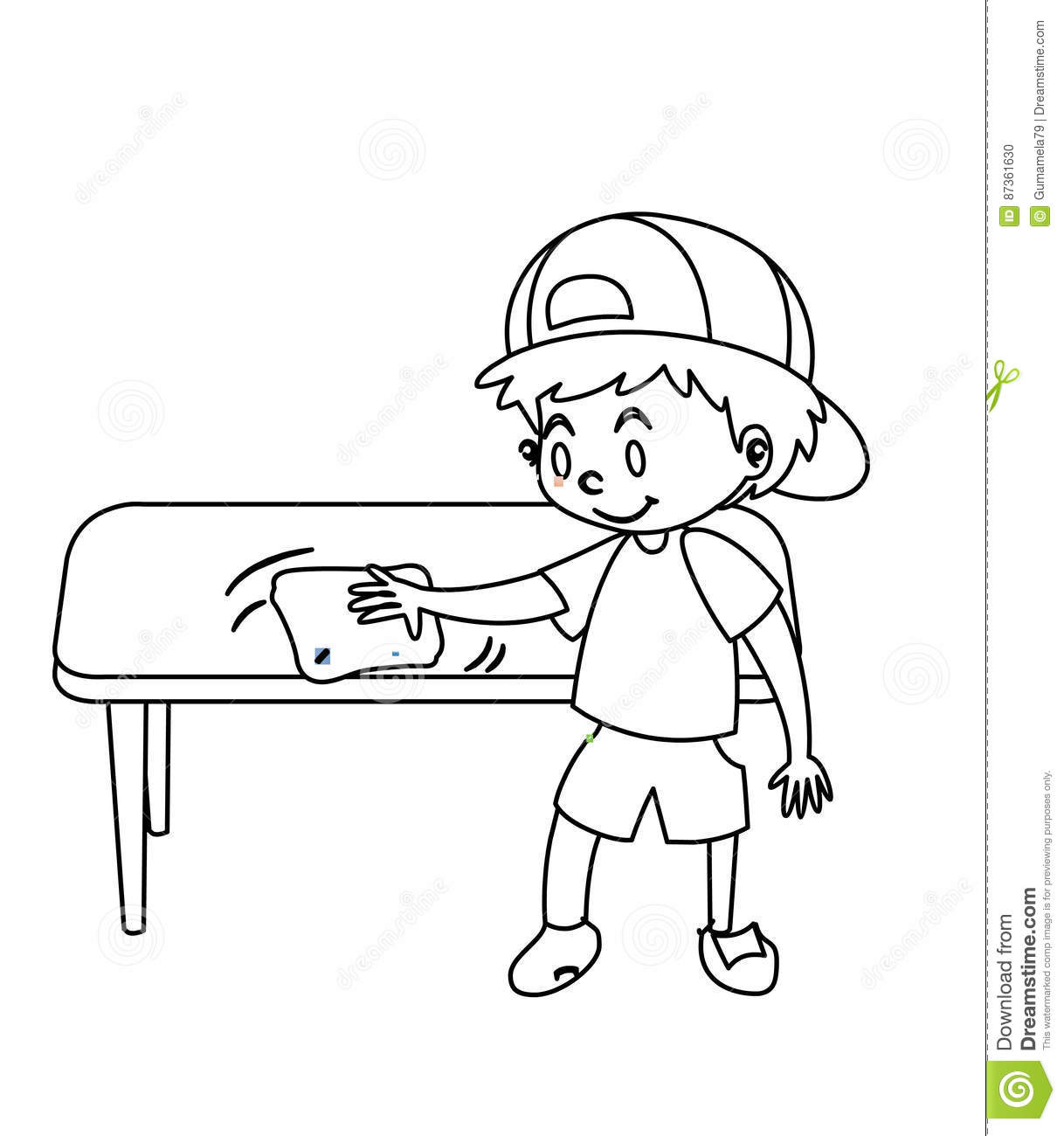 1218x1300 54 Kid Drawing Table, Little Boy Wiping Table Coloring Page Stock