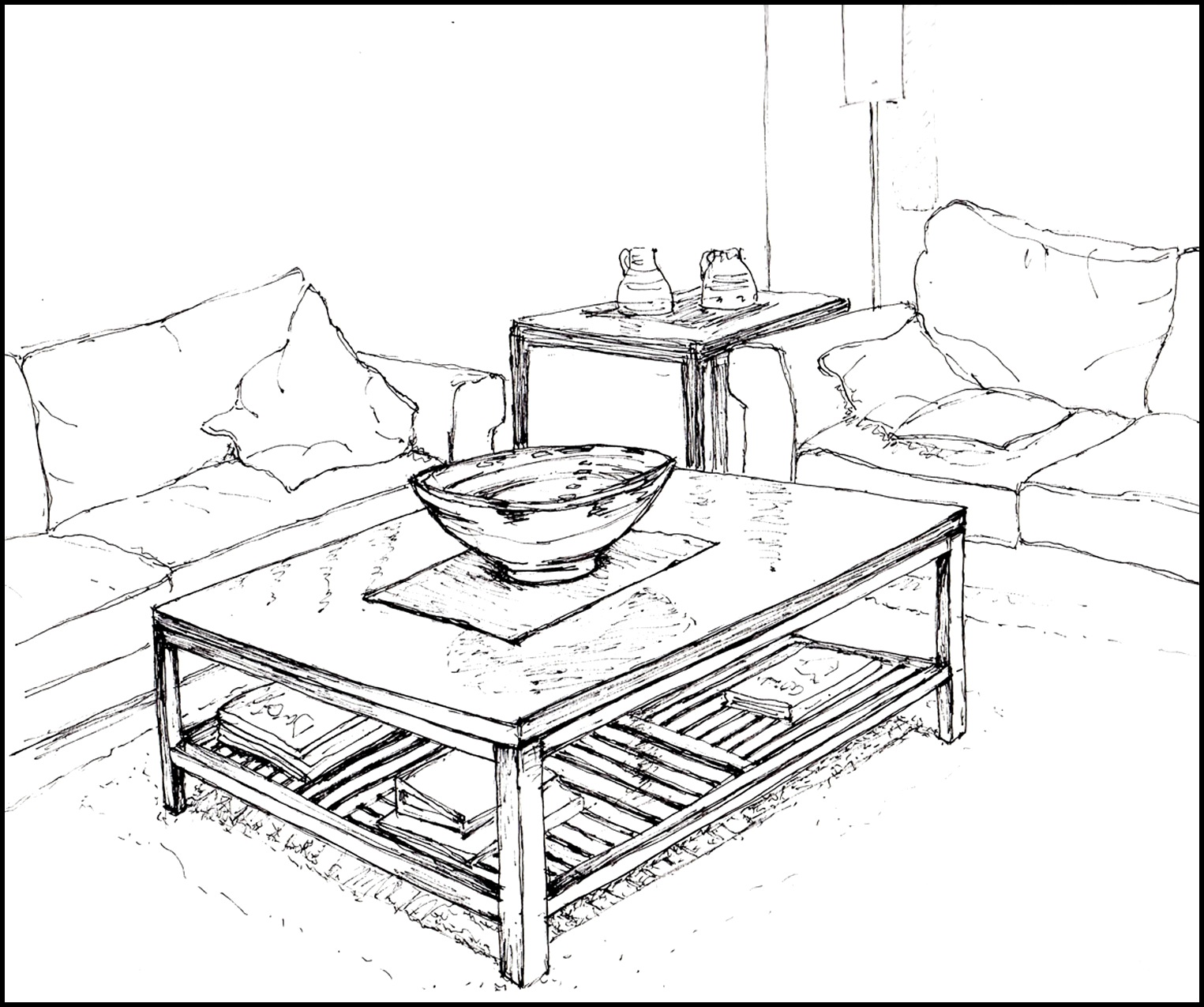 1525x1275 Modern Living Room Drawing In 2d And 3d. Ideas. Niudeco Interior