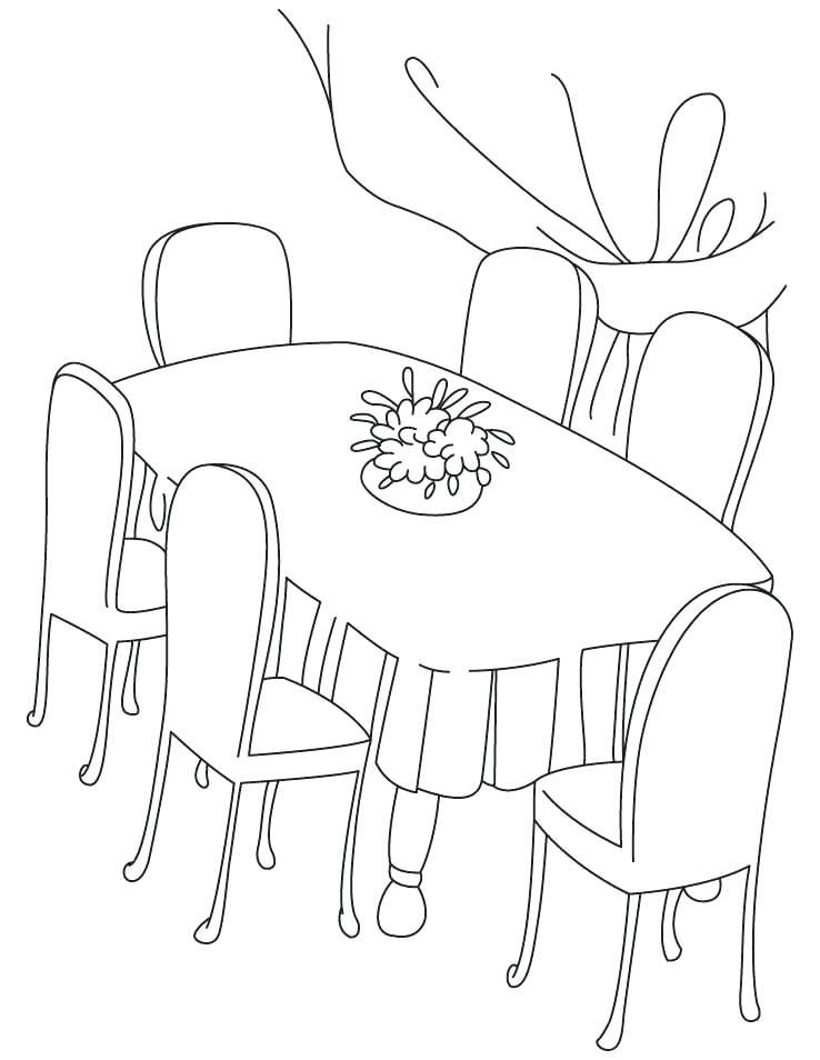 738x954 Coloring Table Six Chair Dinning Table Coloring Pages Tablet