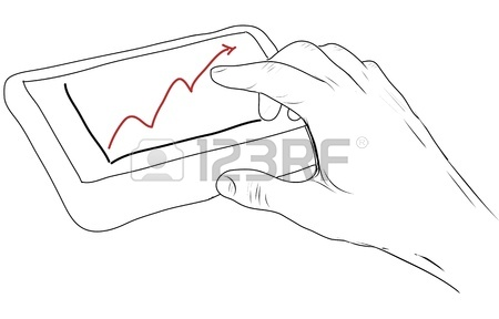 450x288 Drawing Computer Display Showing Business Graph Stock Photo