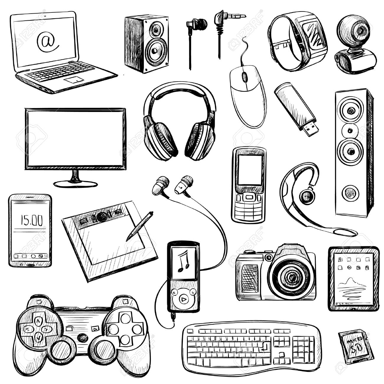 1300x1300 Set Of Hand Drawn Gadget Icons With Notebook, Phone, Game Pad