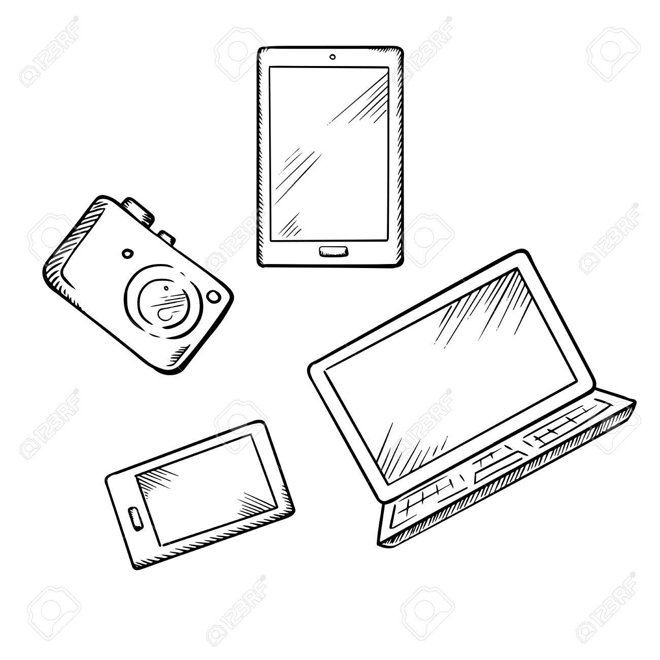 1300x1300 Sketch Of Modern Smartphone, Tablet Pc, Laptop And Digital Photo