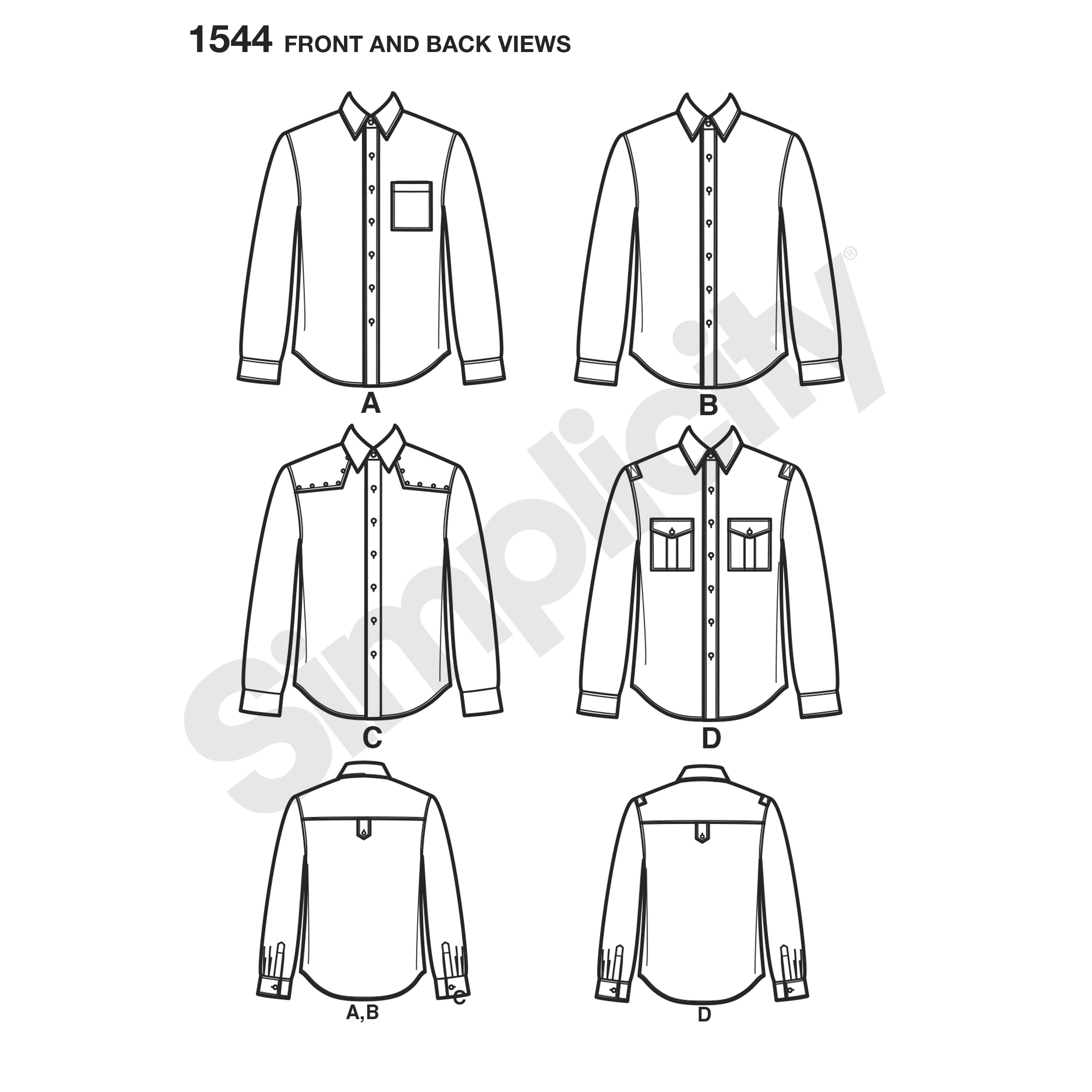 3000x3000 Men's Button Front Shirt With Optional Pockets, Shoulder Tabs,