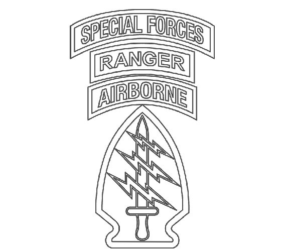 570x500 Us Army Special Forces Patch Wranger Tab Vector Files Dxf