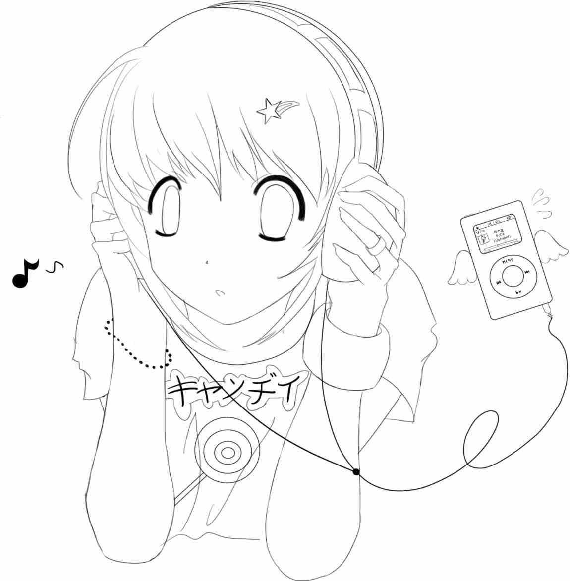 1150x1172 Anime Listening To Music Drawing